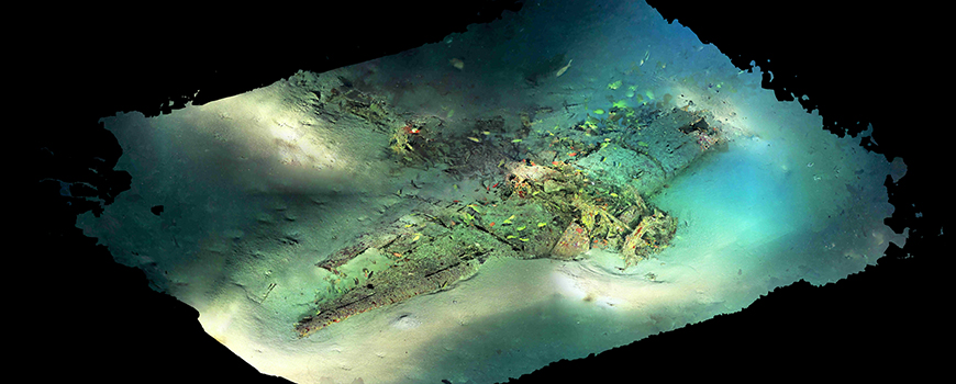 Crashed World War II aircraft 330 feet deep off Hawaii created from high-resolution video data from R/V Petrel ROV