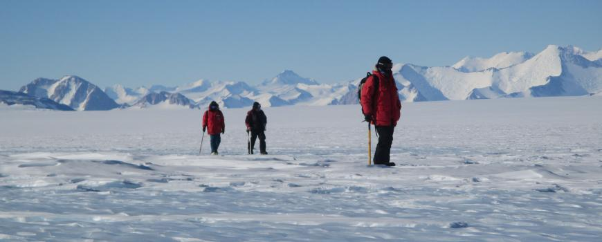 Scientists searching for meteorites in Antarctica