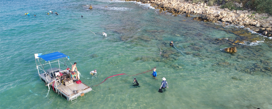 Nearshore excavation with newly developed barge system at Biblical port of Tel Dor, Israel. Photo: A. Tamberino, SCMA