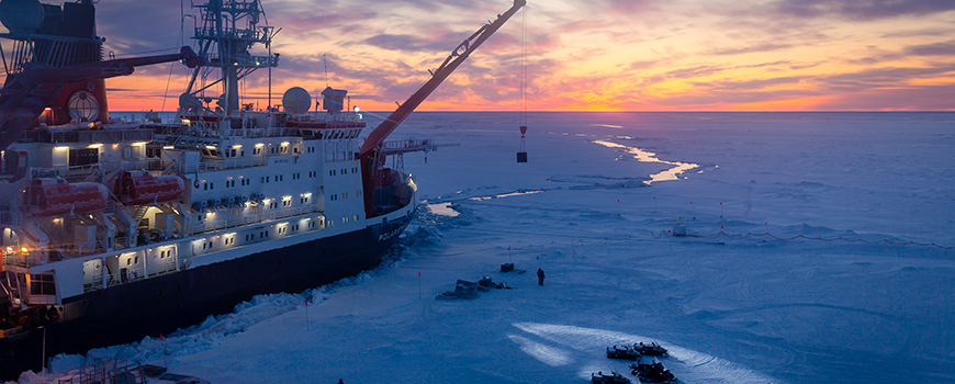 R/V Polarstern locked in Arctic ice. Photo: Alfred-Wegener-Institut / Stefan Hendricks