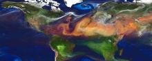 Map of the world showing swirls of aerosols