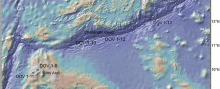 Relief map showing location of Mariana Trench sampling sites