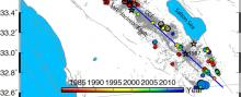 Map view of the detected swarm (solid circle) events in the San Jacinto Fault Zone.