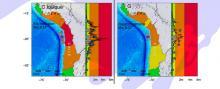 Tsunami warning maps and coastline amplitude predictions.