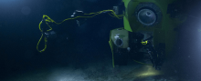 DEEPSEA CHALLENGER on the seafloor, imaged from the accompanying lander