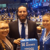 From left, Scripps students Natalya Gallo, Matt Costa, and Lynn Waterhouse at Ocean Conference at UN headquarters in New York