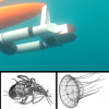 Zooglider (top) with a selection of zooplankton imagery the robot has captured. Top photo: Benjamin Whitmore